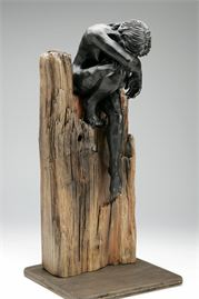 ceramic and driftwood figure sculptures